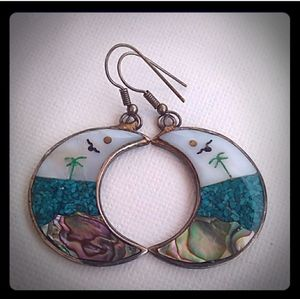 VINTAGE Multi GemStone Inlay Crescent Drop Earring